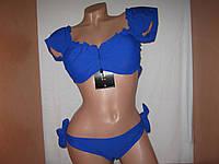 Шикарный раздельный купальник FUBA.VI синий с закрытыми плечами