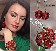 """""""Красные маки"""" серьги + браслет. Украшения в украинском стиле., фото 1"""