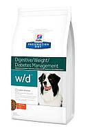Хиллс w/d при ожирении, колитах, запорах, сахарный диабет 12кг
