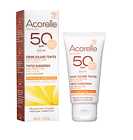 Органический крем для лица солнцезащитный, SPF 50 с эффектом тонирования Абрикос  Acorelle,50 мл