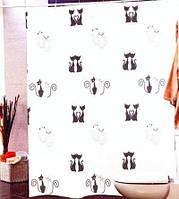 Штора для ванной комнаты  из полиэстера (180Х200 см) декор BLACK CAST с черным узором Miranda OST-356