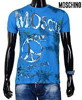 Футболка мужская Moschino с красочным печатным принтом спереди и однотонной задней частью