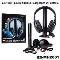Беспроводные наушники с Микрофоном MH2001 5 в 1 + FM радио DC-2001