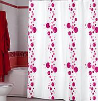 Штора для ванной комнаты  из полиэстера (180Х200 см) декор BUBBLE с розовым узором Miranda OST-357