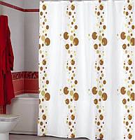 Штора для ванной комнаты  из полиэстера (180Х200 см) декор BUBBLE с бежевым узором Miranda OST-358