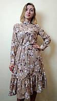Платье женское миди с рюшей П257