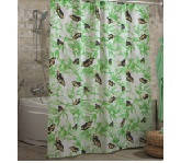 Штора для ванной комнаты  из полиэстера (180Х200 см) декор BUTTERFLY с зеленым узором Miranda OST-359