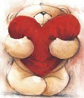 Алмазная вышивка DM-249 Мишка с сердцем 30*35см