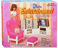 Кукольная мебель Глория Gloria 9510 Гостиная Барби, кресло, телевизор, пуфик, стереосистема