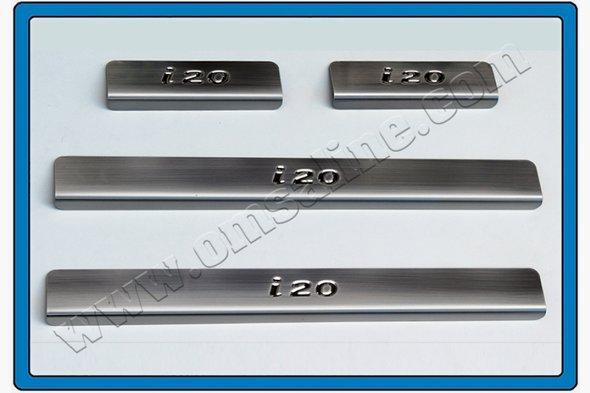 Накладки на пороги OmsaLine (4 шт, нерж.) Hyundai I-20 2008-2012 гг.