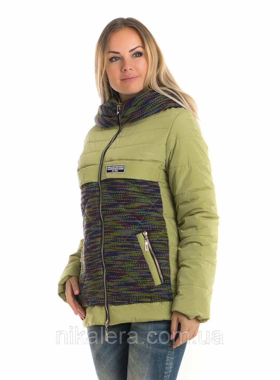 Женская короткая комбинированная куртка рр 42-52