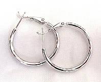 Серьги кольца, Xuping родий, диаметр 2 см