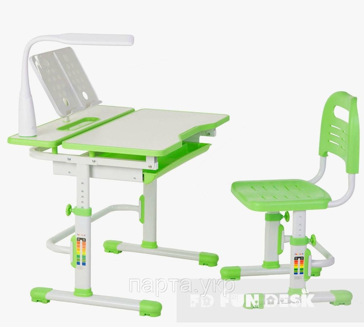 Растущая парта 80см,  стульчик лампа и подставка, Lavoro Green