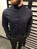 Рубашка мужская темно - синяя 6 цветов ЛЮКС КАЧЕСТВО весна лето рубашка белая черная