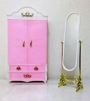 Кукольная мебель Глория Gloria 2313 Гардероб с вешалками, зеркало, ящички