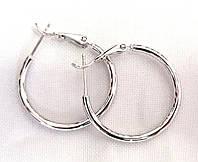 Серьги кольца, Xuping родий, диаметр 3 см