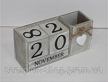"""Вечный календарь с подставкой для ручек """"Сердечко""""(20*9*6,5 см)"""