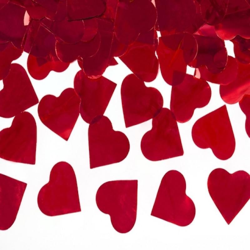 Конфетти Сердца, Красные, 100 гр (большие, 3.5 см)