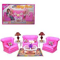 Кукольная мебель Gloria Глория 9704 Гостиная, диван, кресла, столик, лампы, ваза