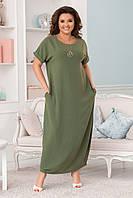 Женское Платье в пол с карманами БАТАЛ, фото 1