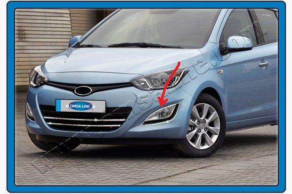 Хром накладки на противотуманки (2 шт, нерж.) Hyundai I-20 2012-2014 гг.