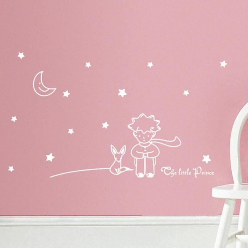 """Наклейка на стену """"Маленький принц"""" белая"""