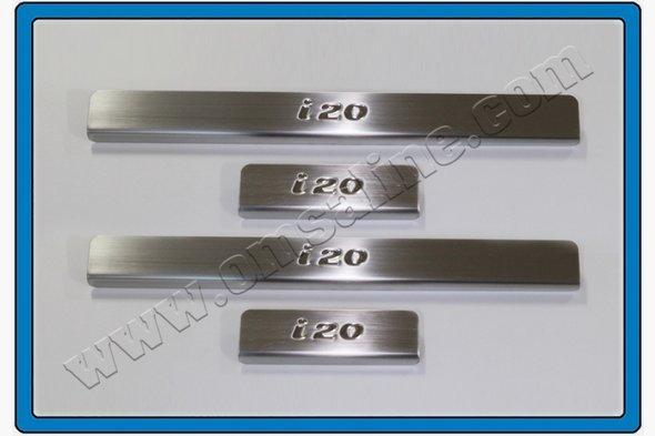 Накладки на пороги OmsaLine (4 шт, нерж.) Hyundai I-20 2012-2014 гг.