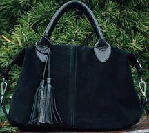 Вместительная женская сумка из натуральной чёрной замши и кожи