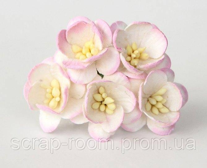 Цветы вишни бумажные бело-розовые 2.5 cм, цветы вишни розово-белые, цветы вишни, цветок Таиланд, цена за 1 шт