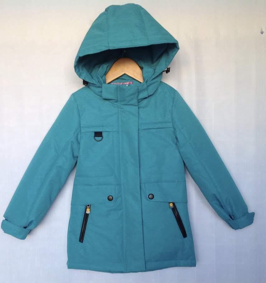 Куртка детская демисезонная #BM-941 для девочек 4-5-6-7-8 лет (104-128 см). Бирюзовая. Оптом