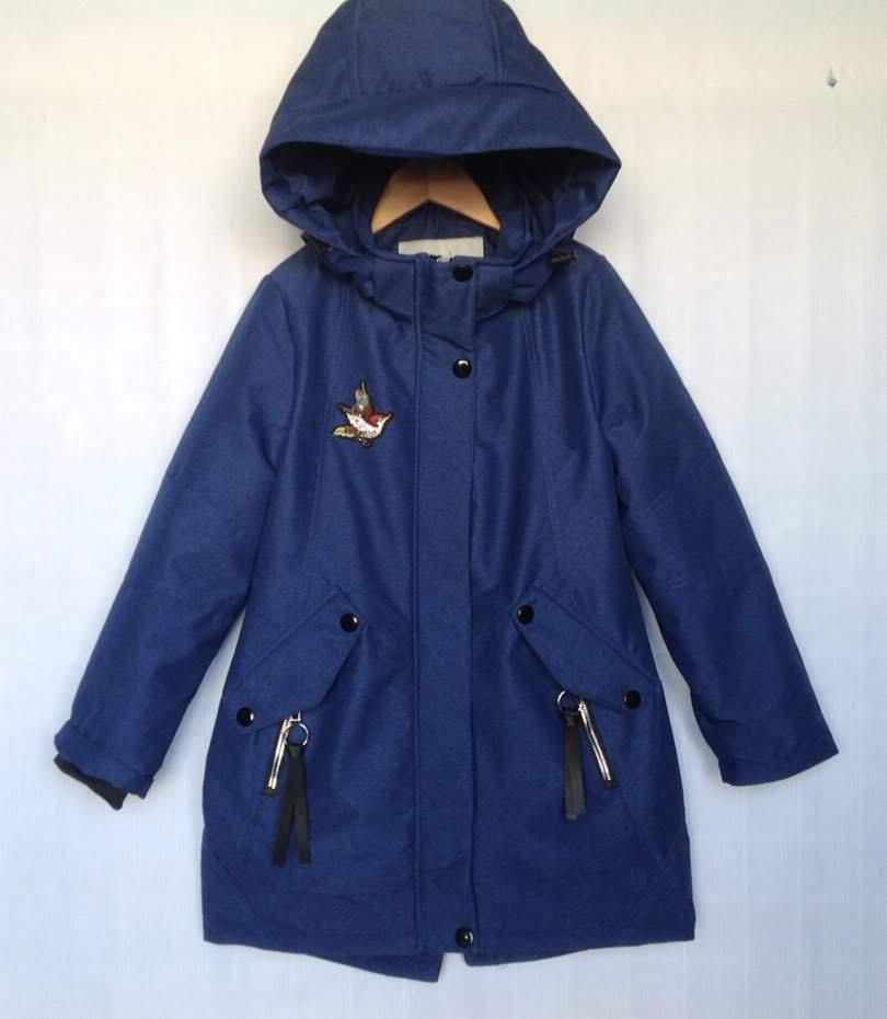 Куртка детская демисезонная #BNK-1031 для девочек 7-8-9-10-11 лет (122-146 см). Темно-синяя. Оптом