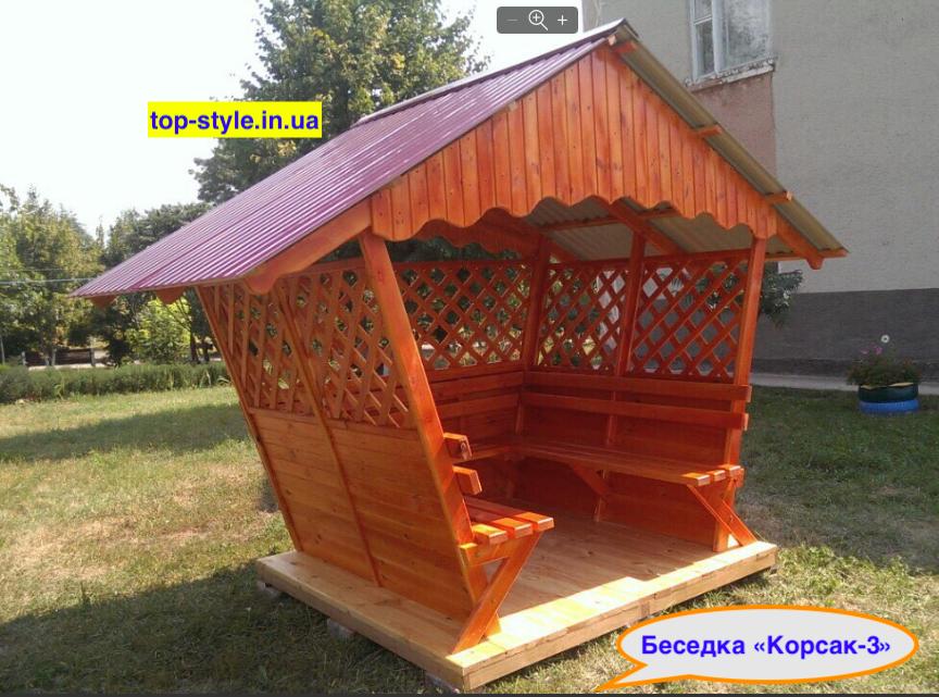 """Беседка деревянная для дачи, сада или частного дома """"Корсак - 3"""" (2*2м)"""