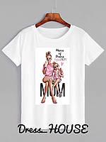 Женская белая футболка с рисунком  5FU175, фото 1