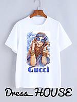 Летняя женская футболка из софта с рисунком 5FU176, фото 1