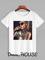 Женская футболка на лето с рисунком 5FU177, фото 1