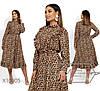 Женское платье леопардовое в больших размерах с оборками 1BR1475