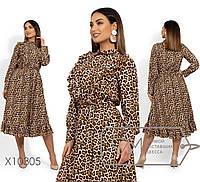 Женское платье леопардовое в больших размерах с оборками 1BR1475, фото 1