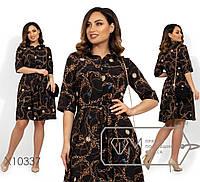 Принтованное летнее платье из софта в больших размерах 1BR1486, фото 1