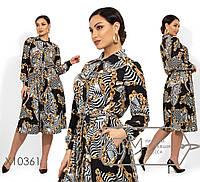 Принтованное платье-рубашка с пышной юбкой и поясом в больших размерах 1BR1494, фото 1