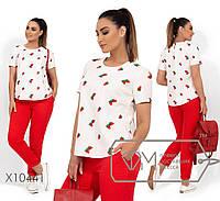 11bb84d47a8 Женский костюм с брюками и футболкой в принт в больших размерах 115BR15
