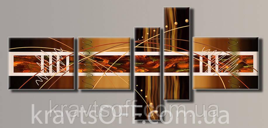 """Модульная картина на холсте из 5 частей """"Абстракция"""" ( 94х208 см )"""