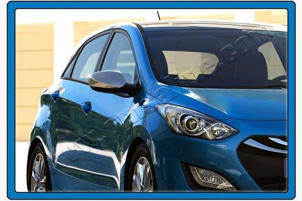 Накладки на зеркала без поворотника (2 шт, нерж.) Hyundai I-30 2012-2017 гг.