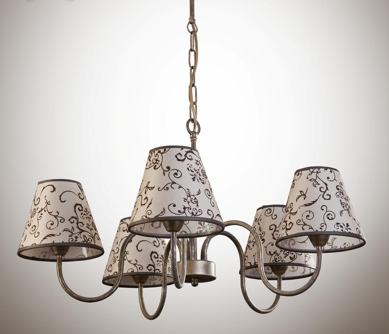 Люстра для зала, спальни, 5-ти ламповая с абажуром 10505-1
