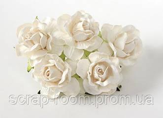 Роза бумажная белая диаметр 4,5 см, роза белая, бумажная роза белая 4,5 см Таиланд,цена за 1 шт
