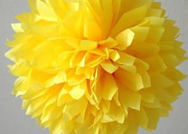 Бумажный помпон желтый (размеры и цены в описании)