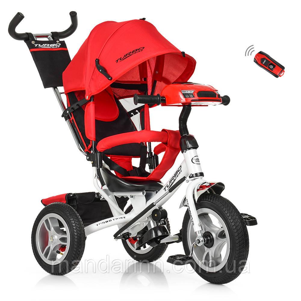 Детский Трехколесный велосипед-коляска с фарой Турбо M 3115-3HA красный
