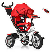 Детский Трехколесный велосипед-коляска с фарой Турбо M 3115-3HA красный, фото 1