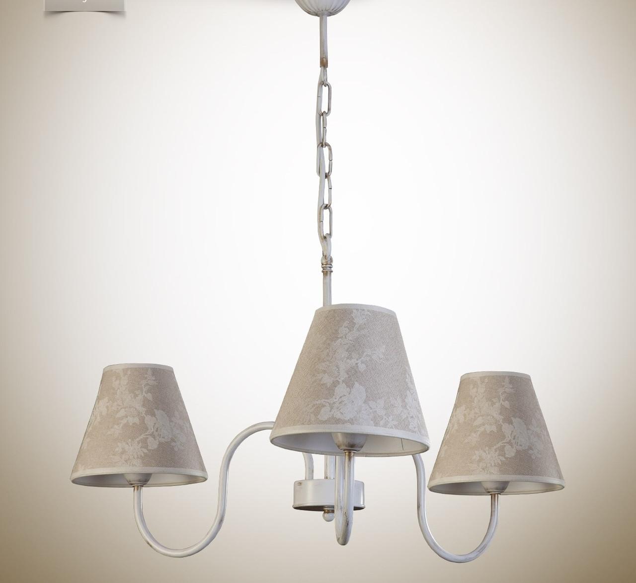 Люстра с абажуром, 3-х ламповая для спальни 10503