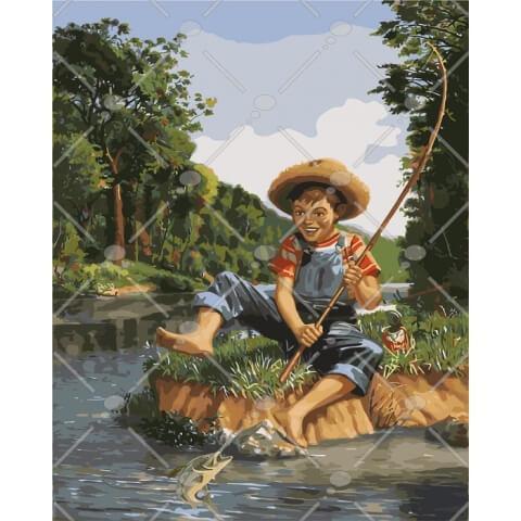 Картина по номерам Маленький рыбак КНО2331 Идейка