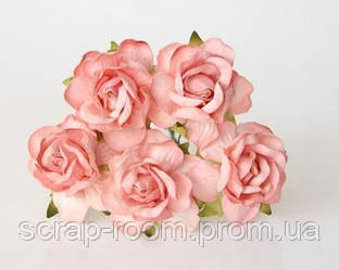 Роза бумажная коралловая диаметр 4,5 см, роза коралловая, роза коралловая Таиланд 4,5 см, цена за 1 шт